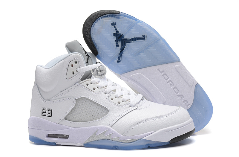 New Air Jordan 5 Retro All White Shoes