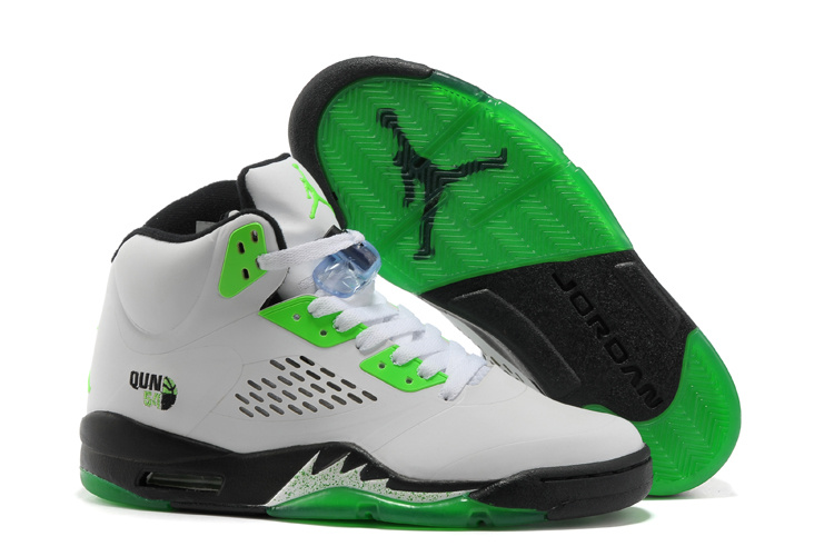 e53bc6e8d2fe Popular New Air Jordan Retro 5 White Green Black Shoes On Cheap Sale