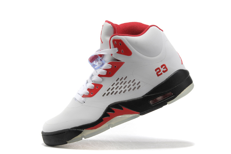 New Air Jordan Retro 5 White Red Black Shoes