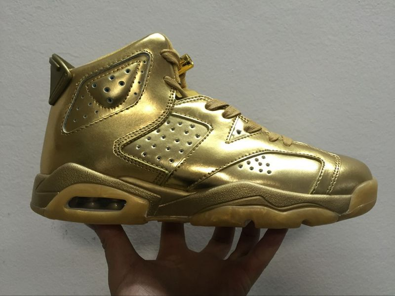 New Air Jordan 6 All Gold Shoes