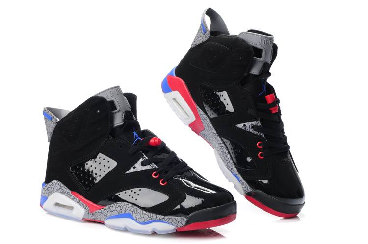 Latest Air Jordan 6 Black Grey Red Blue