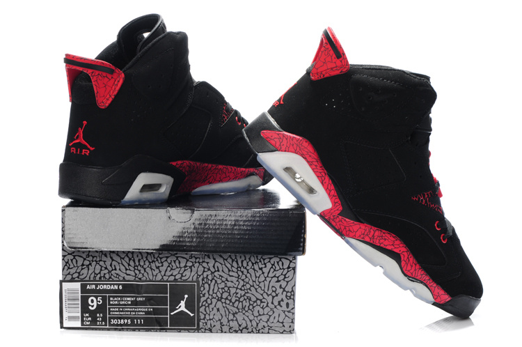 Latest Air Jordan 6 Black Grey Red