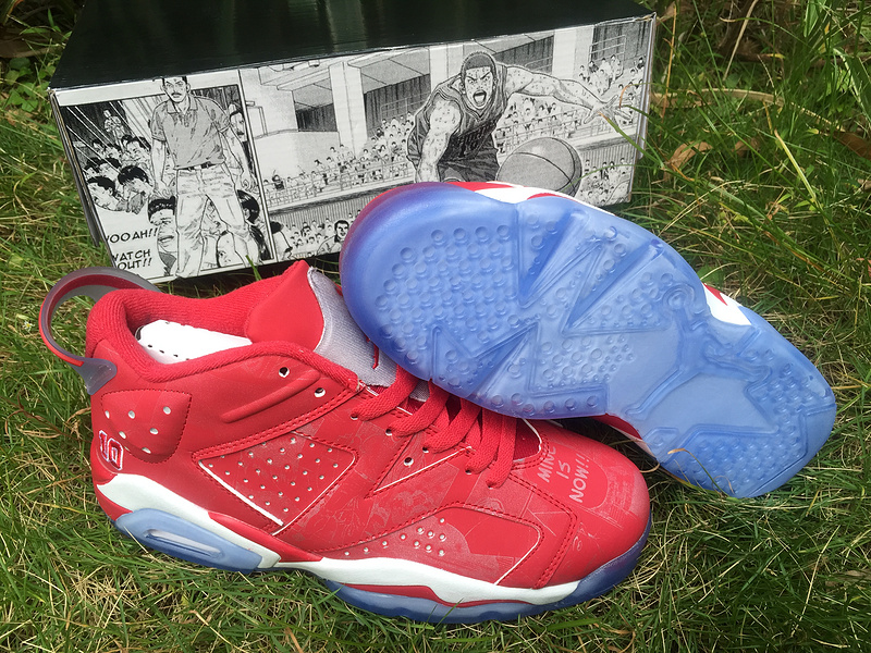 Women Air Jordan 6 Low Red White Blue Sole Shoes