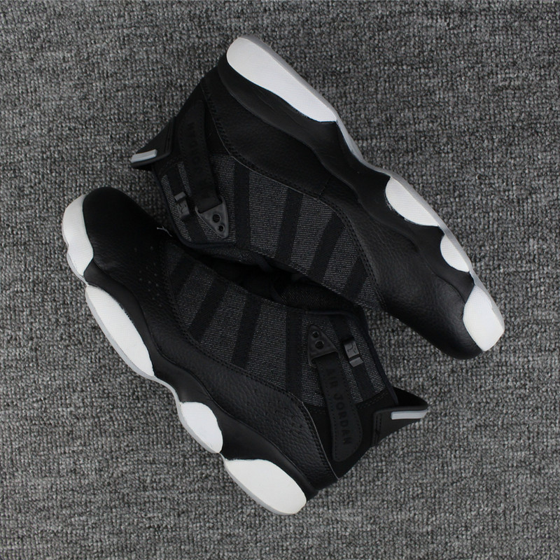 New Air Jordan 6 Rings All Black White Shoes