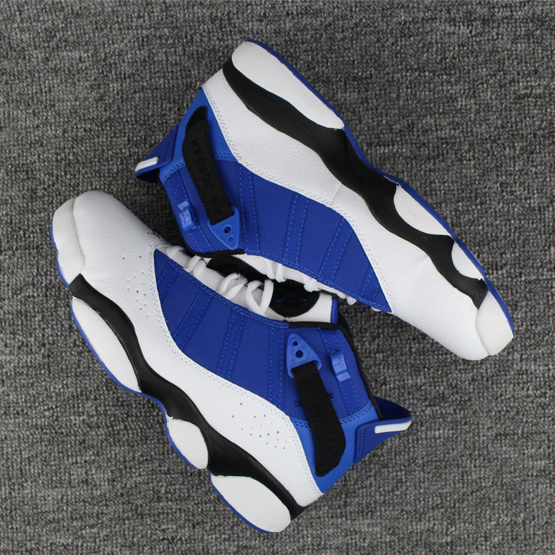 New Air Jordan 6 Rings Blue White Black Shoes
