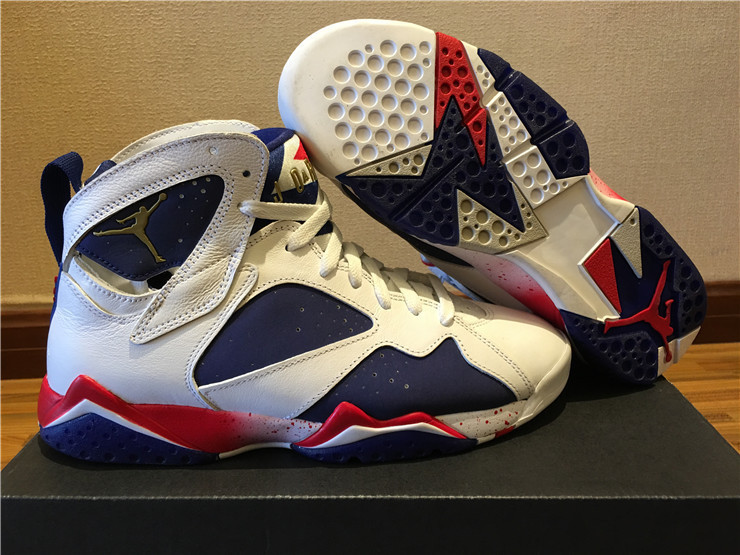 New Air Jordan 7 2016 Olympic White Blue Red Gold Shoes