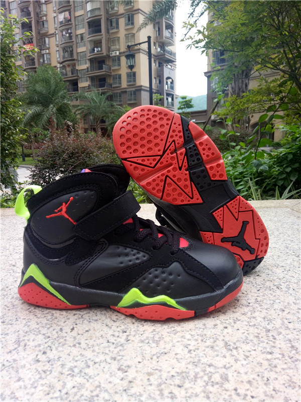 New Air Jordan 7 Retro Black Red Green Shoes For Kids