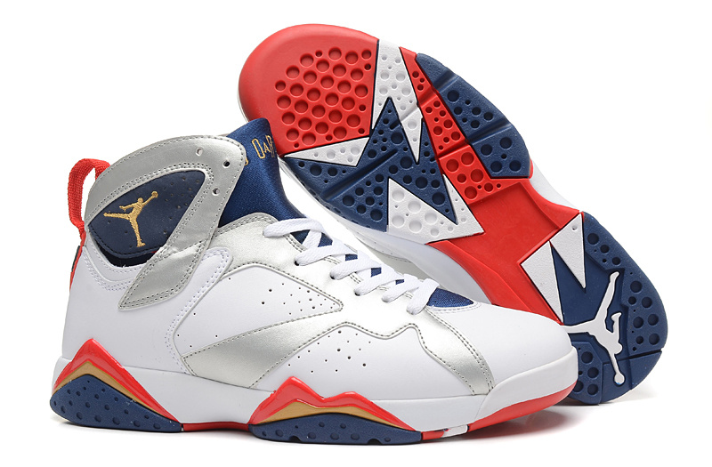 New Air Jordan 7 Retro White Silver Blue Red Shoes