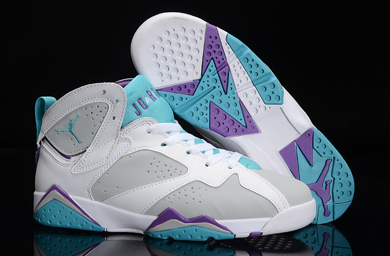 huge discount bcffd d61f4 New Air Jordan 7 White Grey Bbaby Blue Purple Shoes For ...