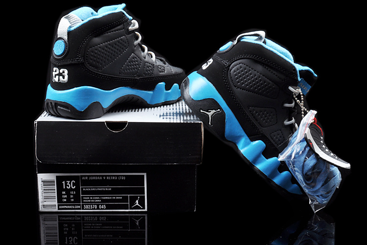 2013 Jordan 9 Black Blue For Kids