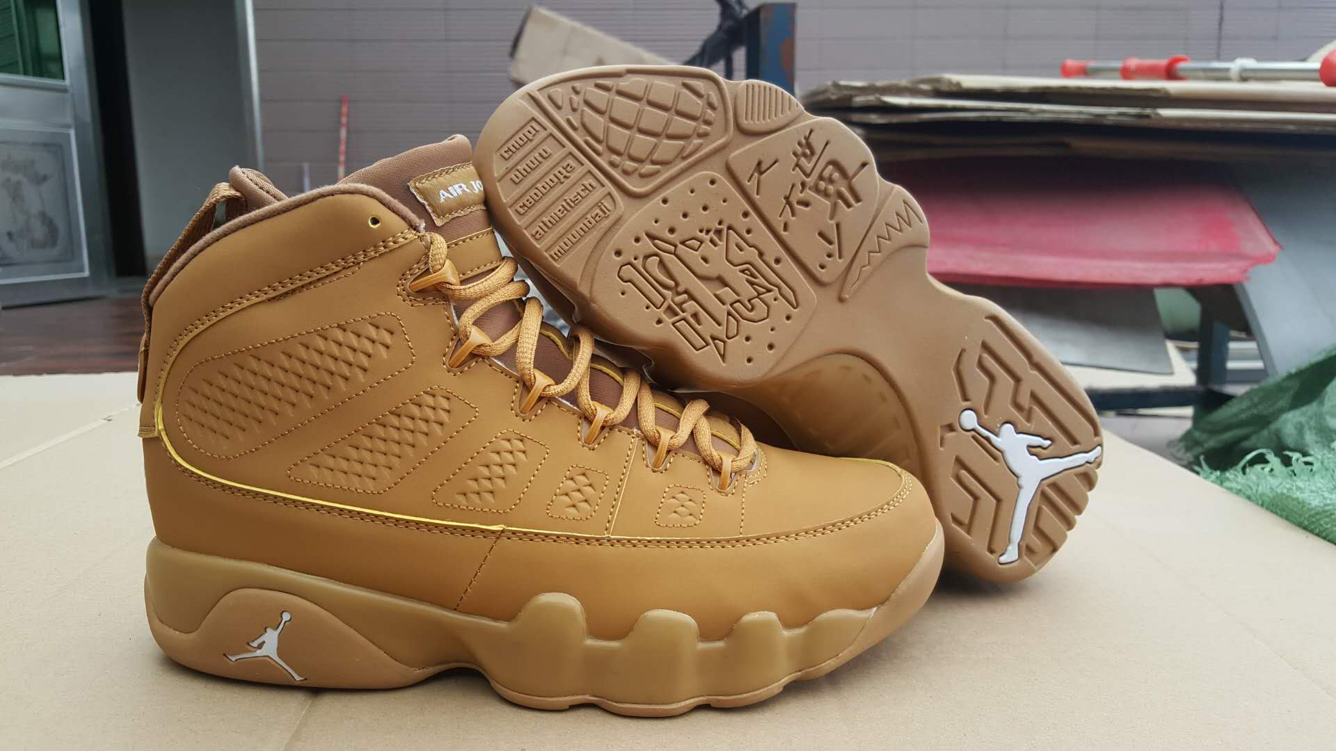 New Air Jordan 9 Wheat Yellow Shoes