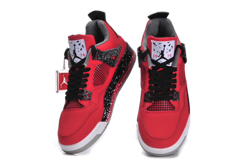 New Arrival Jordan 4 Red Black White Shoes For Women  JORDANS37 ... 9c0014b610