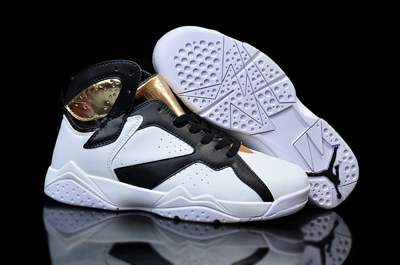 New Original Air Jordan 7 White Black Gold Shoes For Women