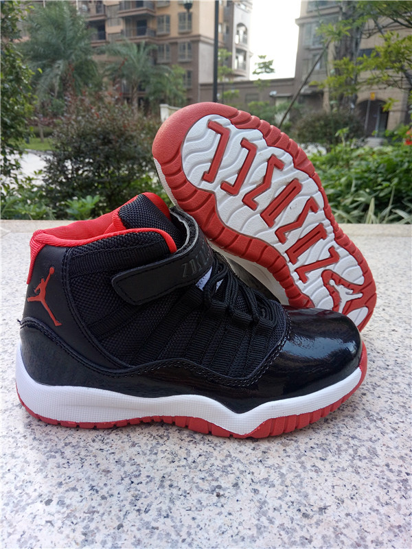 New Kids Air Jordan 11 Magic Black Red White Shoes