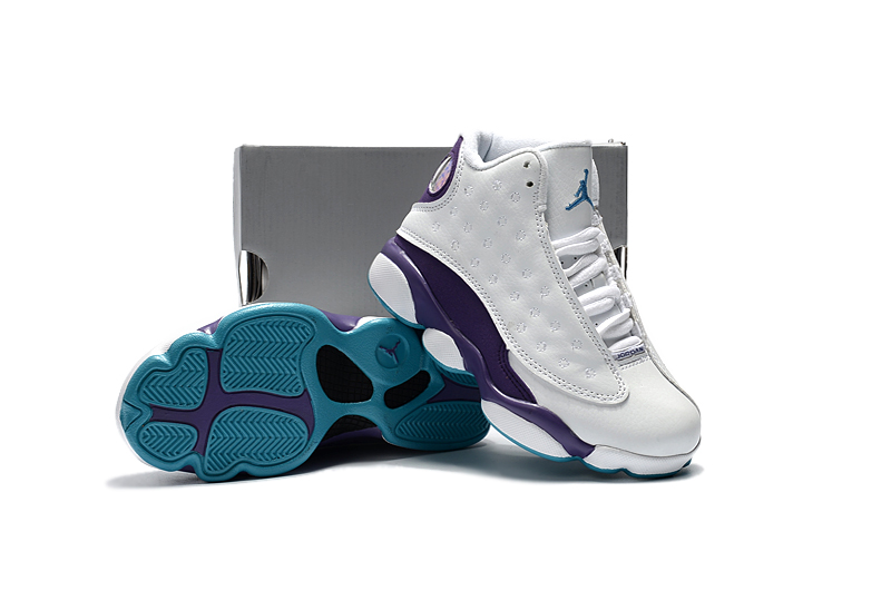 New Kids Air Jordan 13 White Purple Shoes