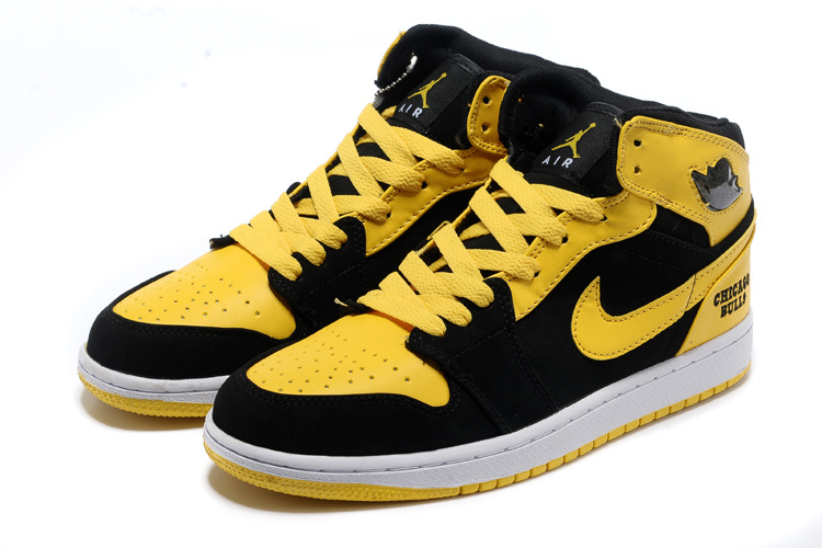 New Original Air Jordan 1 Black Yellow White Shoes