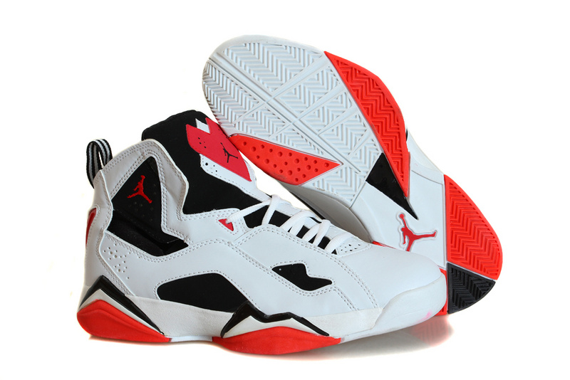 Nike Jordan True Flight White Black Red Basketball Shoes