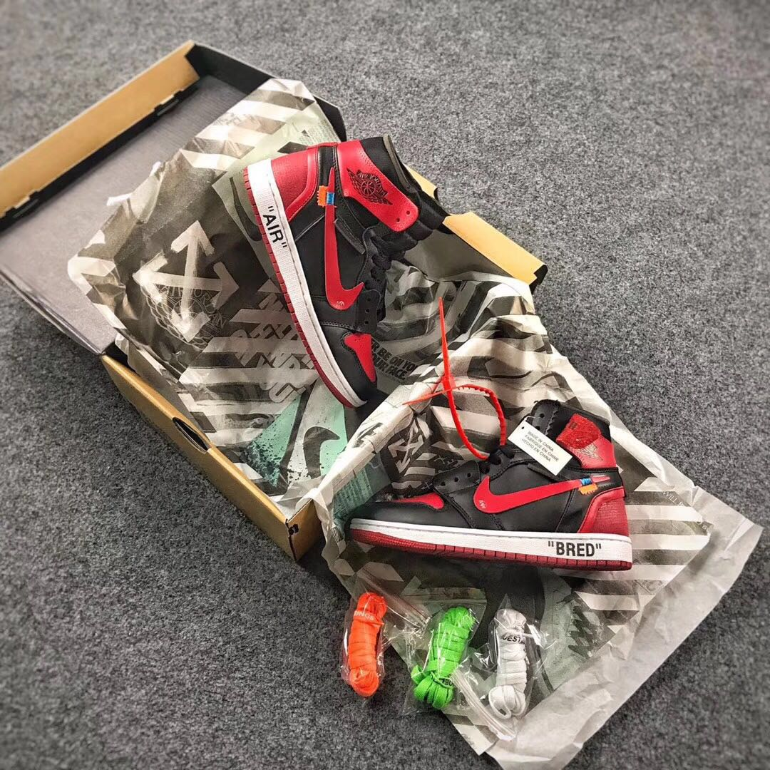 OFF WHITE x Air Jordan 1 Bred Black Red Shoes