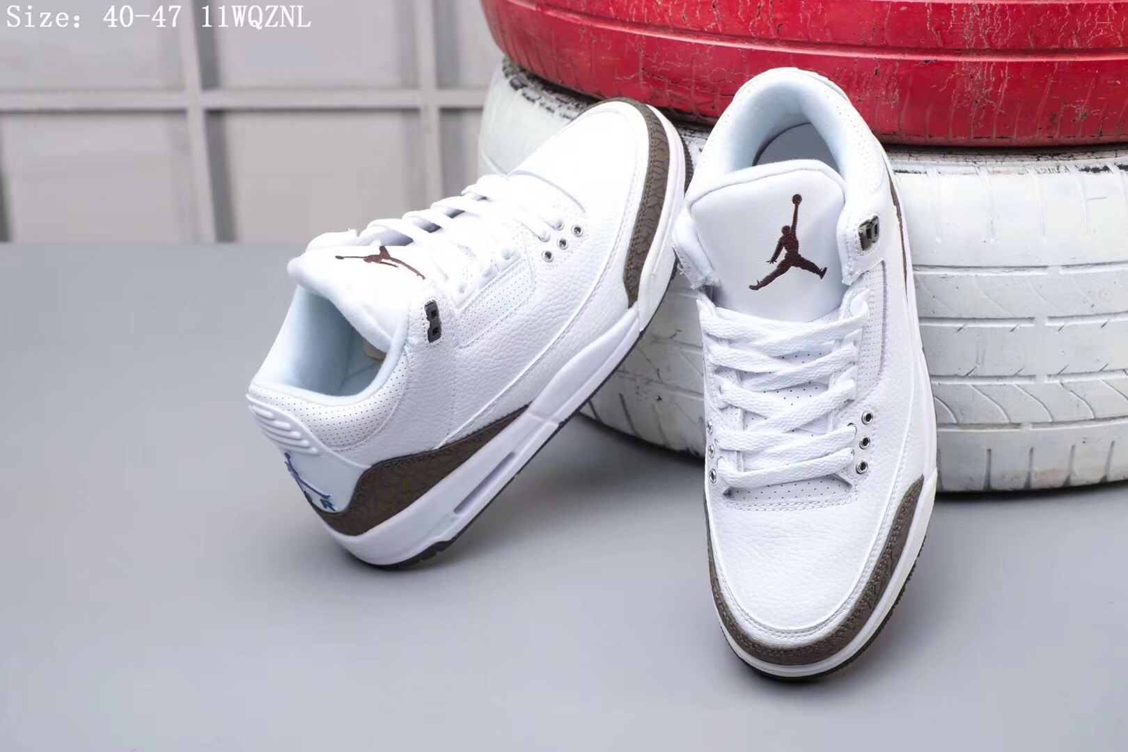 Original Air Jordan 3 White Brown Shoes