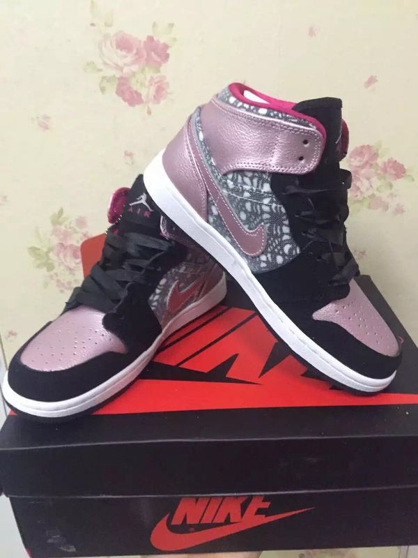Original Air Jordan 1 Black Pink Shoes For Women