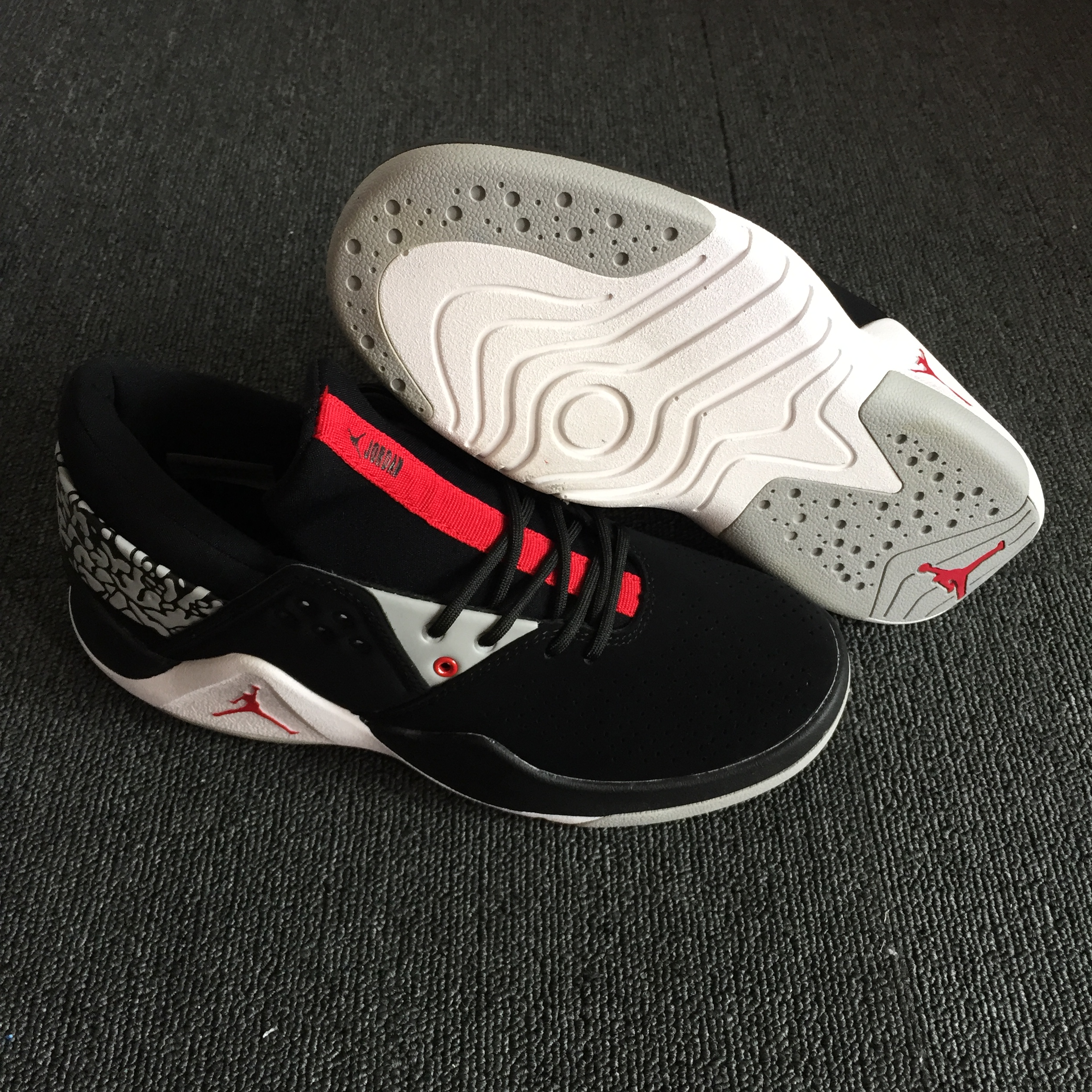 Original Air Jordan Flight Fresh Black White Red Shoes