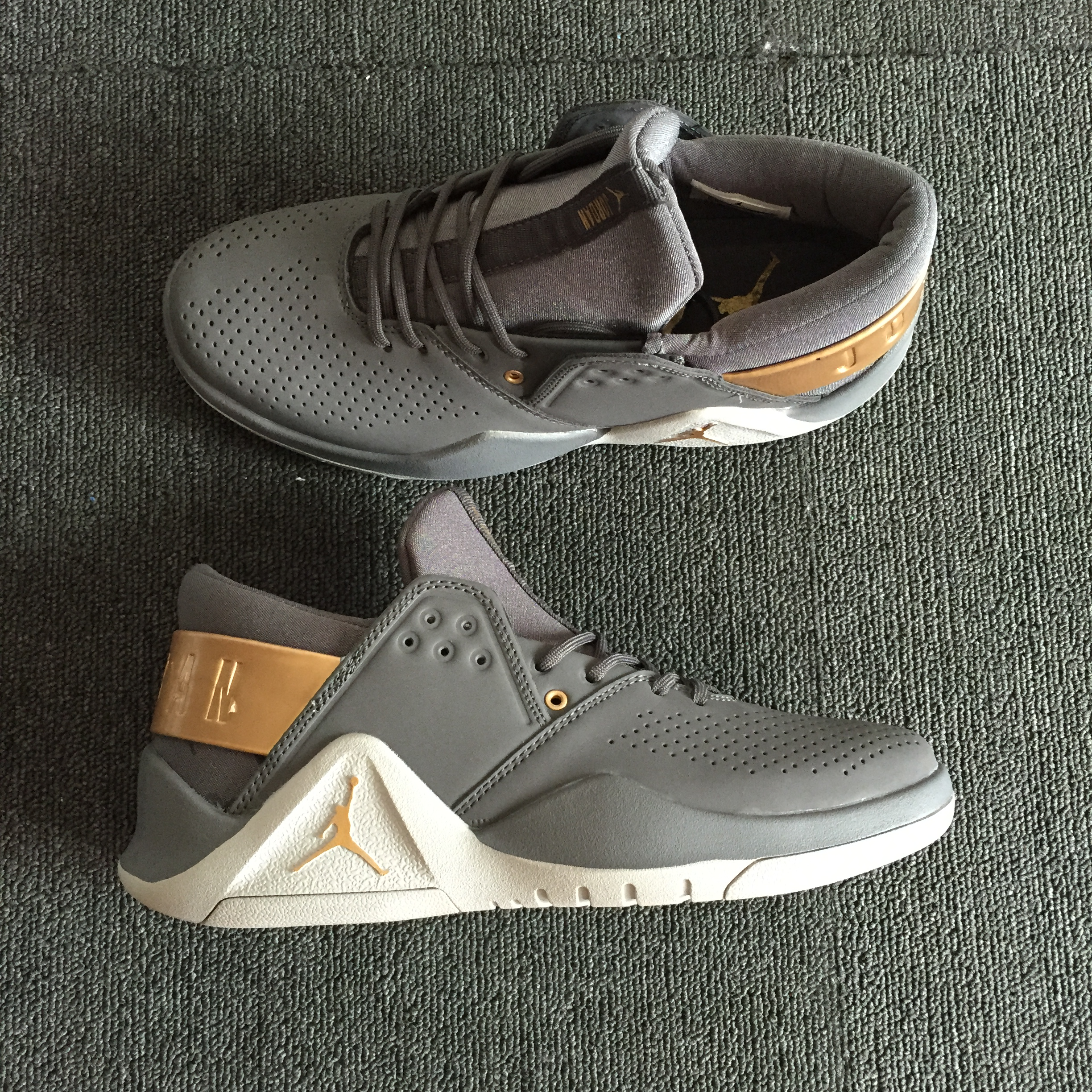 Original Air Jordan Flight Fresh Grey Brown White Shoes