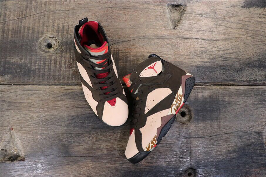 Patta x Air Jordan 7 Black Grey Red Shoes