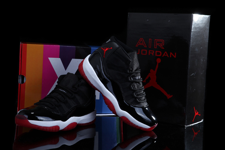 Real Rainbow Package Air Jordan 11 Concord Black White Red Shoes