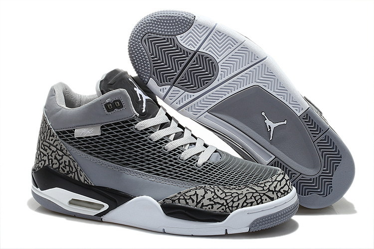 Special Air Jordan Flight Club 80S Grey Black White Shoes