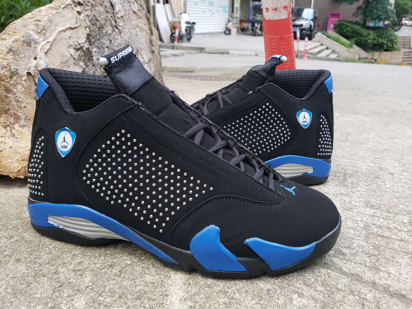 Supreme x Air Jordan 14 Black Royal Blue Shoes