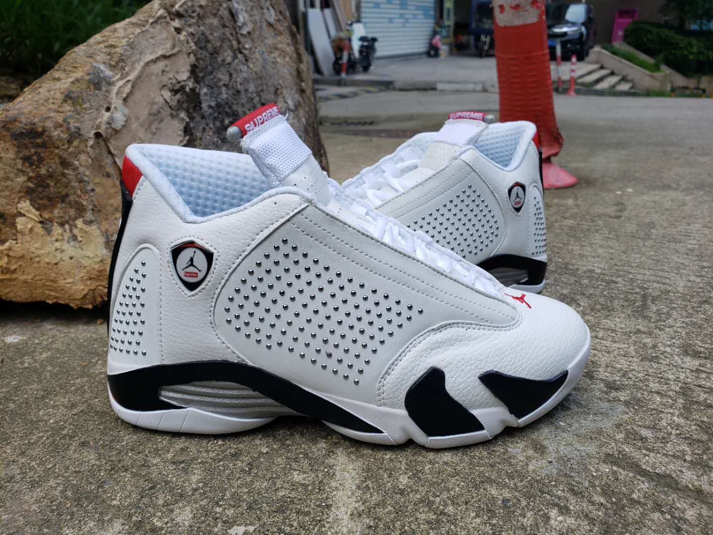 Supreme x Air Jordan 14 White Black Shoes