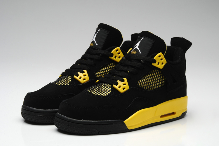 Thor Air Jordan 4 Black Yellow For Women