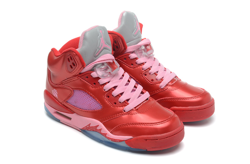 New Top Layer Leather Air Jordan 5 Red Pink Shoes