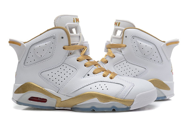 White Gold Air Jordan 6 GS Shoes