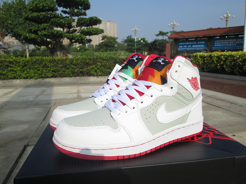 Women Air Jordan 1 Bugs Bunny White Grey Red Shoes