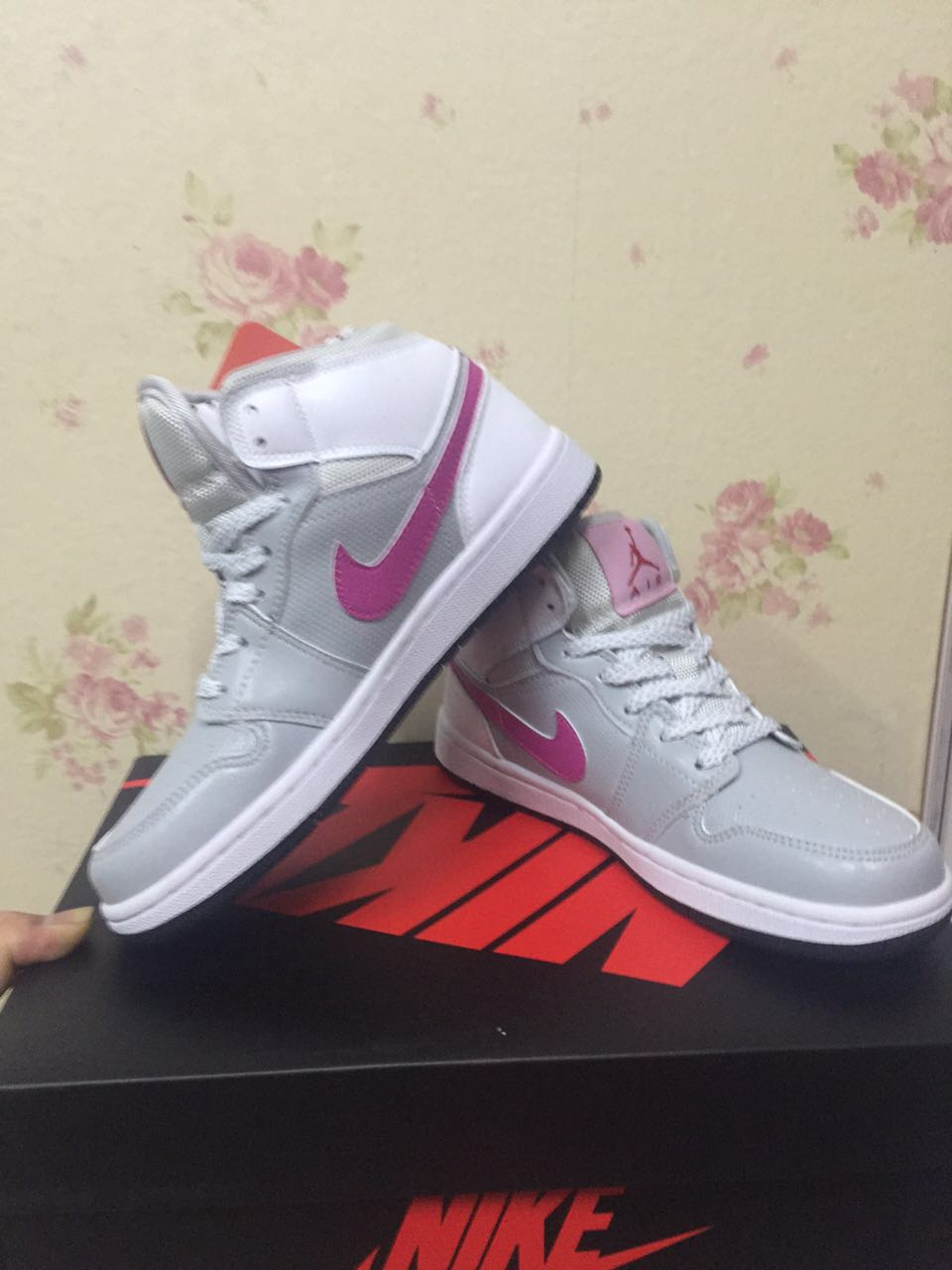Women Air Jordan 1 White Grey Pink Shoes