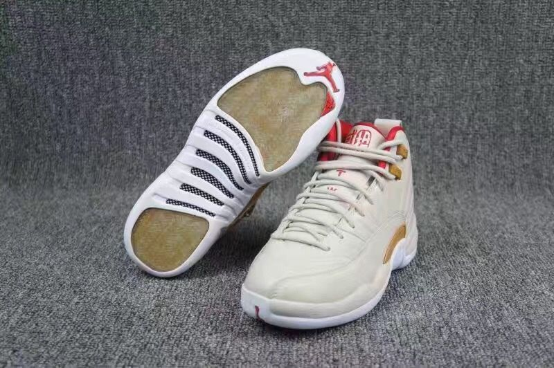 Women Air Jordan 12 20th White Gold Red Shoes