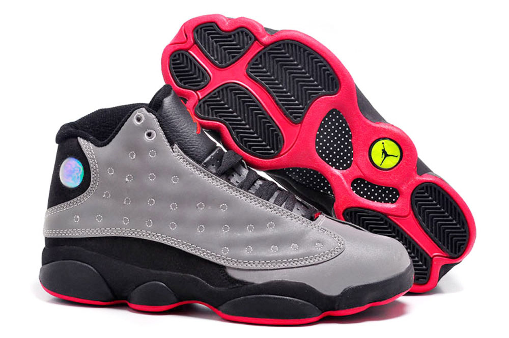 Women Air Jordan 13 Grey Red Shoes