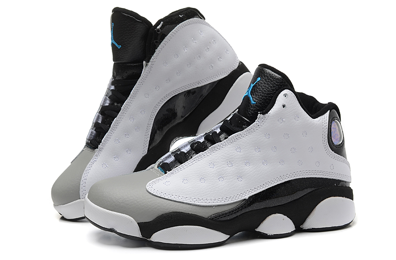 Women Air Jordan 13 The Earl White Grey Black Shoes