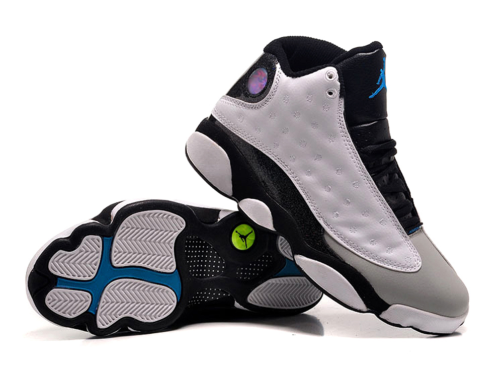 Women Air Jordan 13 White Grey Black Shoes