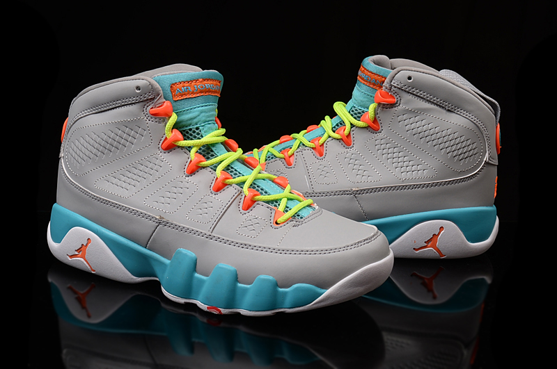 Women Air Jordan 9 Grey Blue Shoes