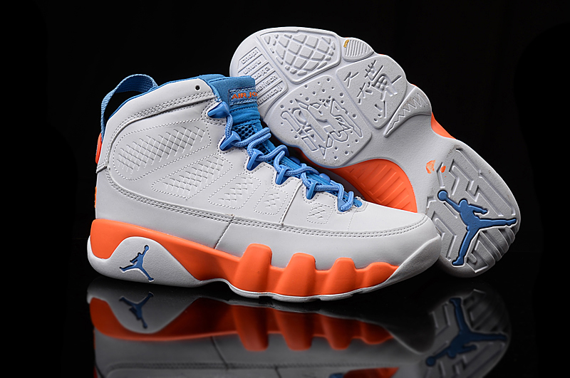 Women Air Jordan 9 Grey Orange Shoes