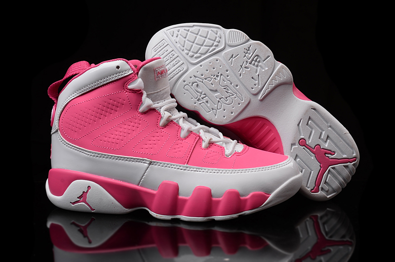 Women Air Jordan 9 White Pink Shoes