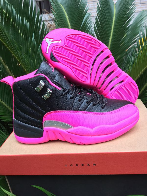 Women Jordan 12 Retro Black Pink Red Shoes  16OG6168  -  75.00 ... ed83a4985
