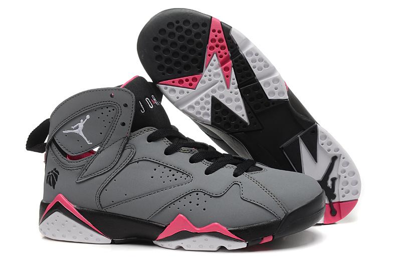 4b53db51ceb360 Women Air Jordan 7 Grey Black Pink Shoes  NW017  -  73.00   Original ...