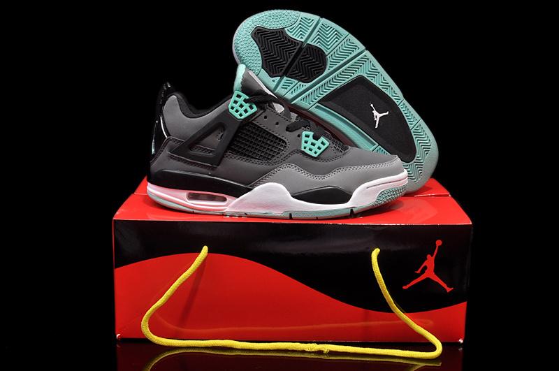 feaaa221209d58 New Womens Jordan 4 Hardback Black Grey Green White Shoes  JORDANS67 ...