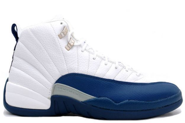 Jordan 12 Retro white french blue metallic silver shoes