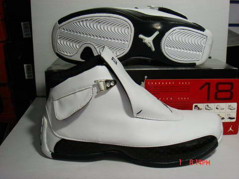air jordan 18 white black shoes