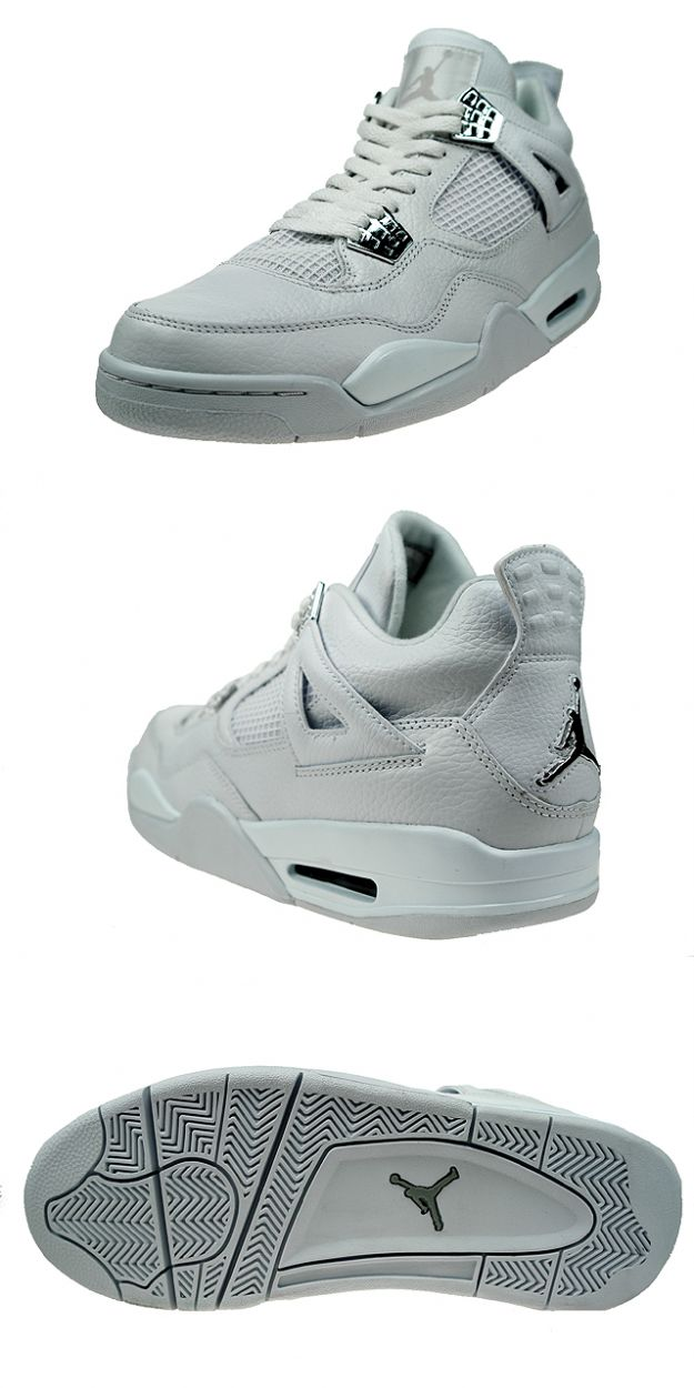 Jordan 4 Retro pure money white metallic silver shoes