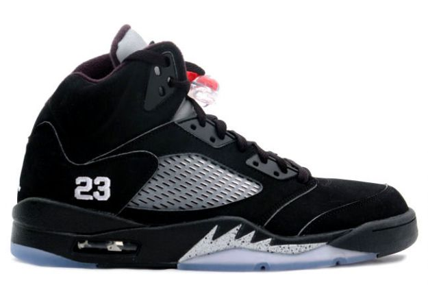 Jordan 5 Retro black metallic silver shoes